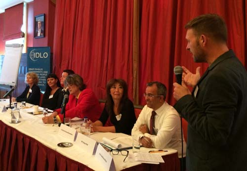 Professor Weait, of Birkbeck's School of Law, chaired a panel at the Consultation on HIV and Policing in Amsterdam, with (left to right) Annette Verster, World Health Organization; Pye Jakobsson, Global Network of Sex Worker Projects; Marja Lust, Amsterdam Police; Julian Hows, Global Network of People Living with HIV; Dr Zhannat Kosmukhamedova, United Nations Office on Drugs and Crime; Dr Sanjay Patil, Open Society Foundations