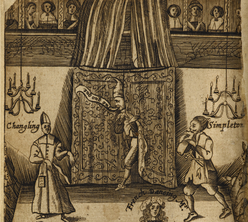 Frontispiece to The Wits, or Sport upon Sport, being a curious collection of several drols and farces, etc. (Written by ... Shake-spear, Fletcher, Johnson, Shirley, and others.) (pt. I.), (London: Francis Kirkman, 1673) The British Library,  [accessed 05 March 2017]