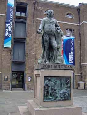 Robert Milligan statue outside the London Docklands Museum