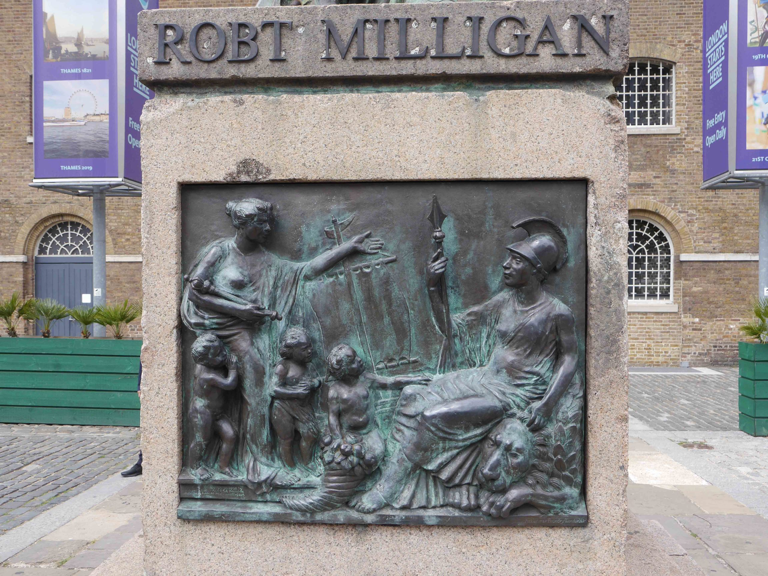 The engraving below Robert Milligan's statue