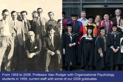 Picture of Organizational Psychology students in 1958 and 2008.