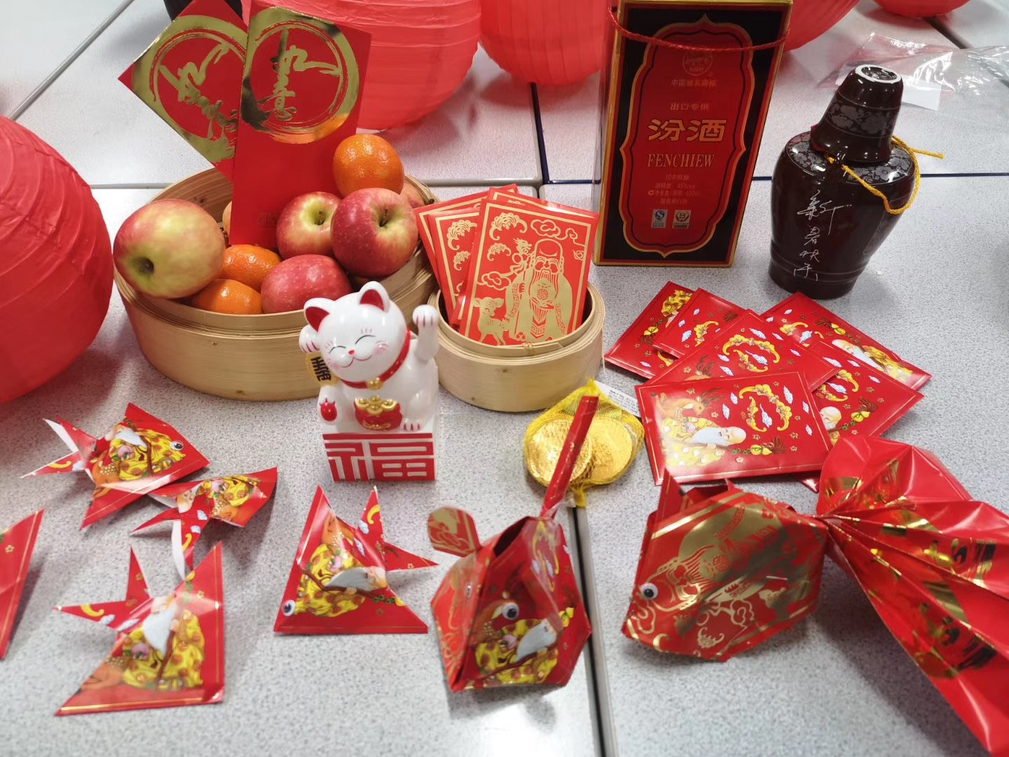This is a photo of red Chinese New Year celebration items