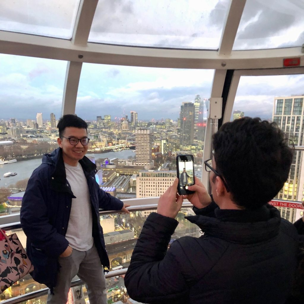 International students on the London Eye
