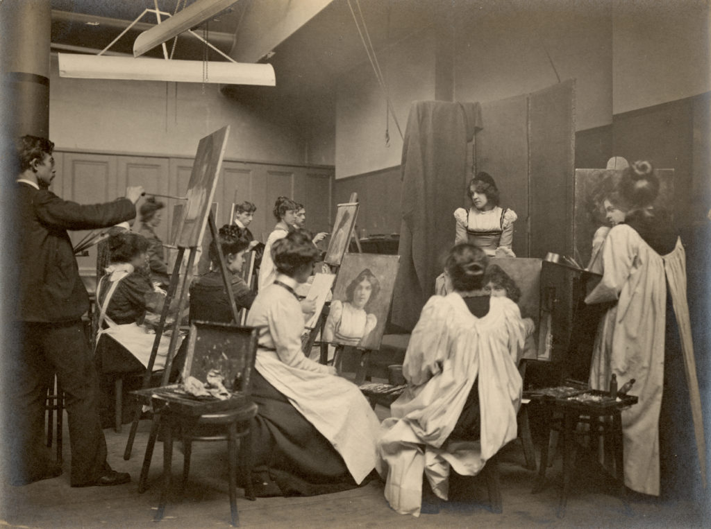 Image of edwardian artists painting a life model.