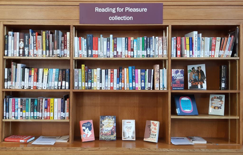 Photo of the bookshelves containing our reading for pleasure collection.