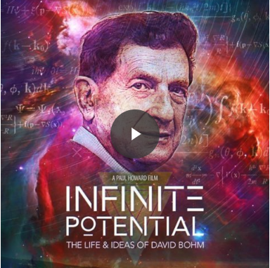 Image of the poster for the film. It shows David Bohm against a mixed background of blue, orange and red swirls overlaid with equations.