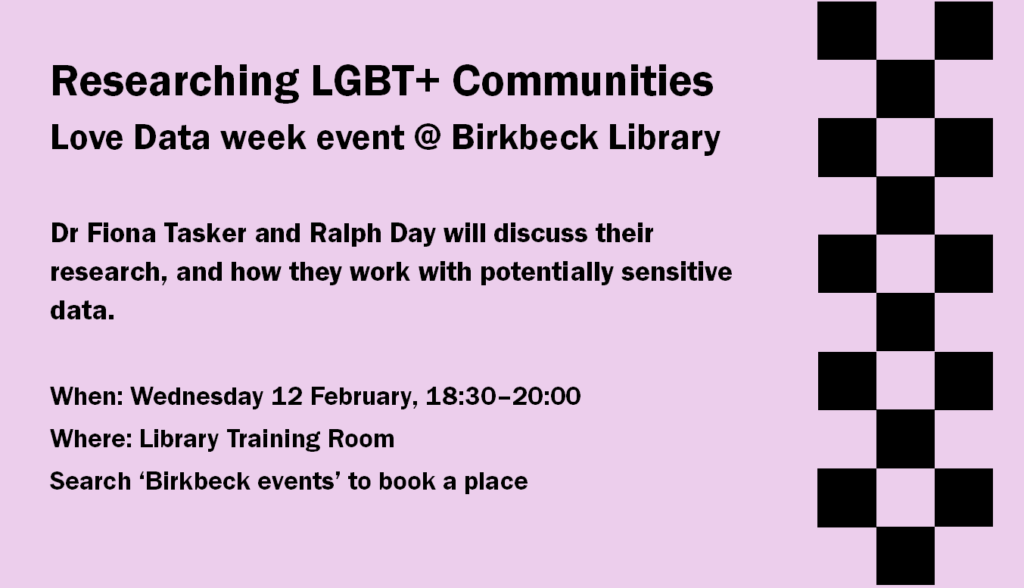"Slide advertising the Researching LGBT+ Communities event. It reads, ""Researching LGBT+ communities. Love data week event at Birkbeck Library. Dr Fiona Tasker and Ralph Day will discuss their potentially sensitive data. When: Wednesday 12 February, 10:30 to 20:00. Where: Library training room. Search 'Birkbeck events' to book a place."""