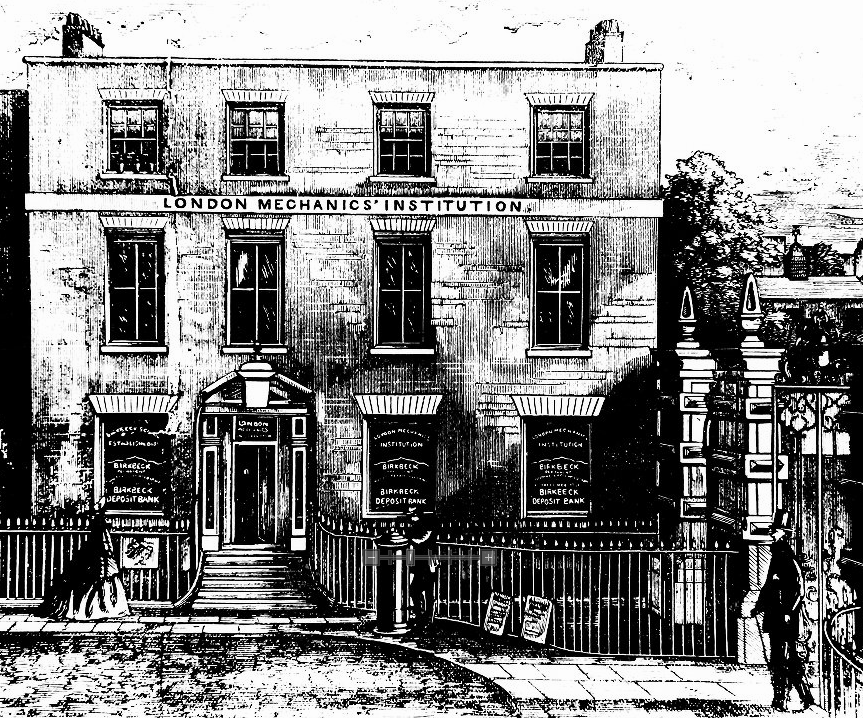 Hand drawn image of the original location of the London Mechanics Institute.