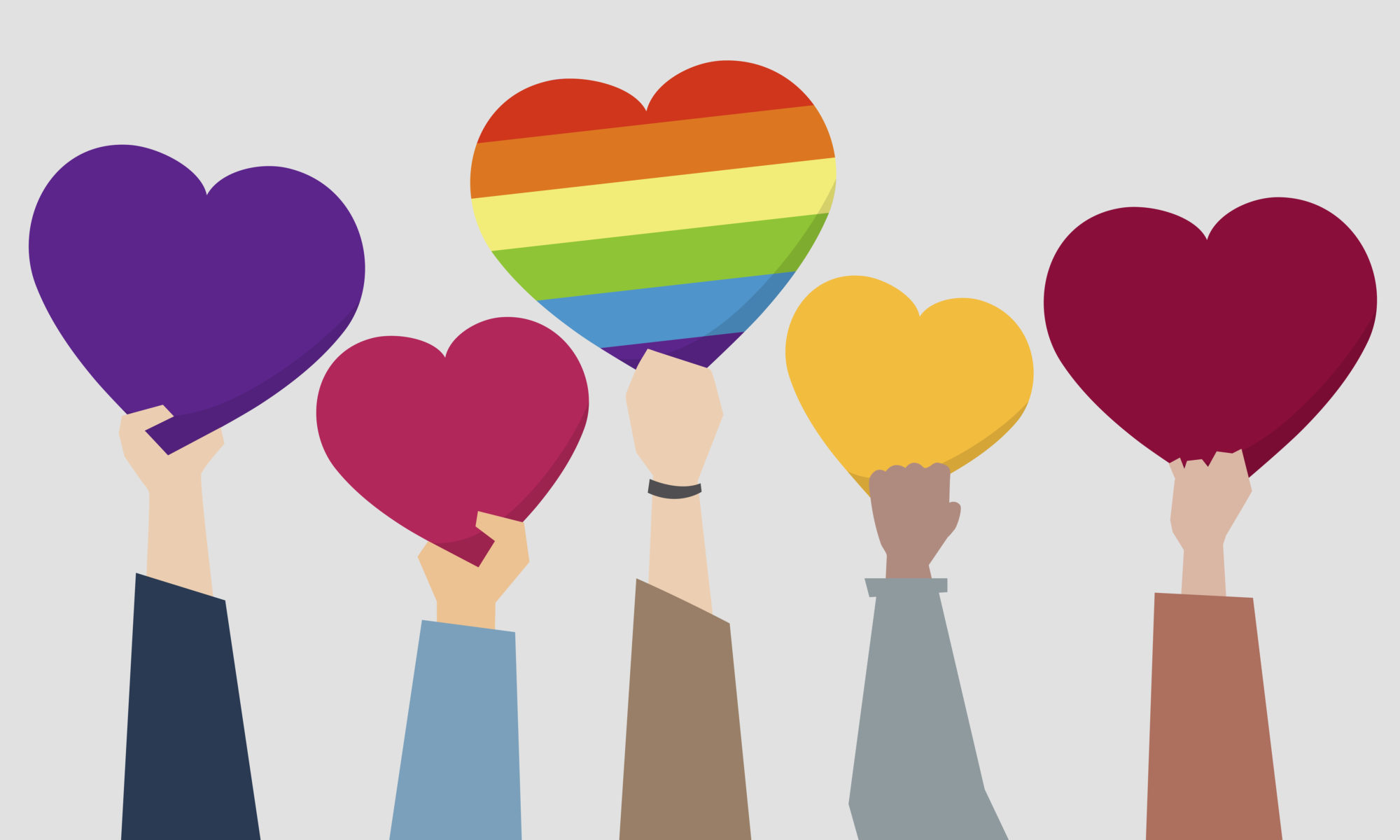 A digital art image showing five arms and hands holding up hearts in different colours. The middle heart is rainbow-coloured.