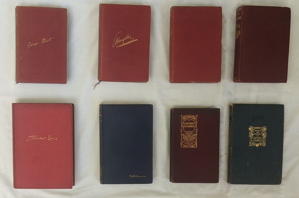 Photo of the front covers of Imogen's books, taken from above.