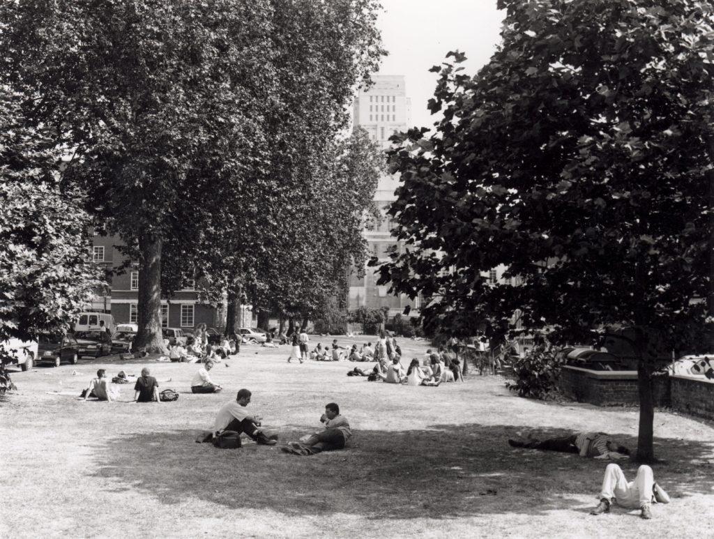 Student relaxing in Torrington Square