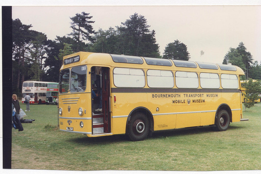 Yellow bus from Bournemouth Transport Museum