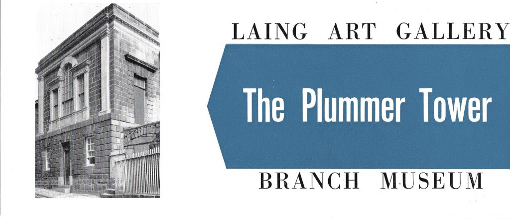 Cover of leaflet for Plummer Tower Museum, a branch of the Laing Art Gallery in Newcastle.