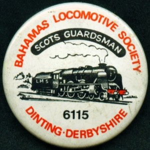 bahamas locomotive society dinting badge featuring scots guardsman locomotive