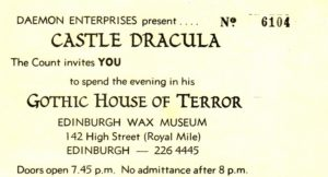 Ticket for Castle Dracula's Gothic House of Terror