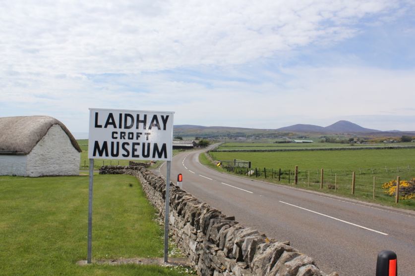 Roadside sign for Laidhay Croft Museum