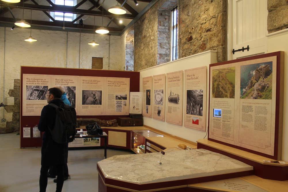 Interior of King Edward Mine museum with displays