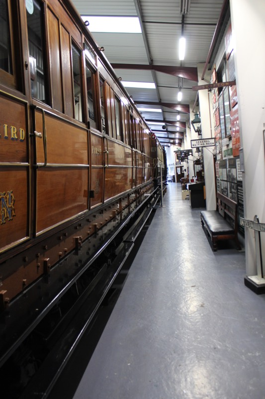 Interior of Museum of Rail Travel, Keighley, showing the side of a rail carriage