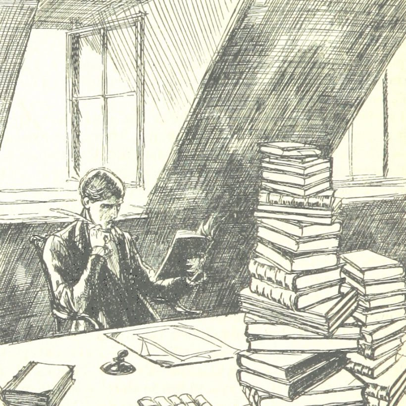 Illustration of a man sitting in an attic room at a desk. The desk is piled high with books and he is reading one of them. A window is open behind him.