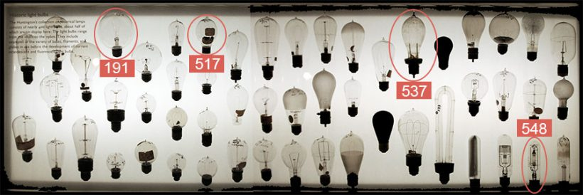 A display case of numerous old light bulbs with four circled and highlighted in red.