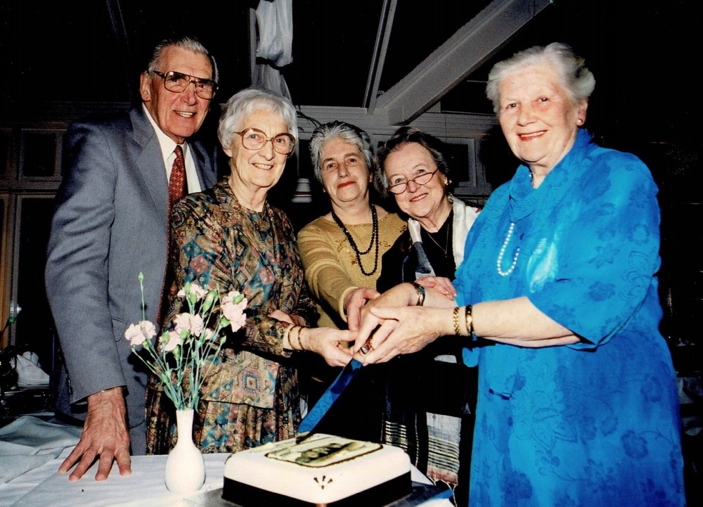 Founders of Nidderdale Museum in 1999, celebrating the twenty-fifth anniversary of the museums' opening. Geoffrey Townley, Muriel Swires, Eileen Burgess, Elsy Moss, Mary Barley