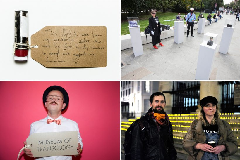 "Four images show, clockwise from top left: a red lipstick with an attached label that reads: ""This lipstick was from my wonderful sister who was the first family member to accept and support my transition""; a street installation by the Museum of Homelessness with objects on tall white plinths on a pavement; Matt and Jess Turtle, founders of the Museum of Homelessness, standing in front of the steps of a church - the steps are lined with hundreds of small lights; E-J Scott, founder of the Museum of Transology, who holds a large label with the museum's name on it."