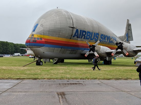 A large aeroplane stands on grass. It is emblazoned with the words Airbus Skylink.