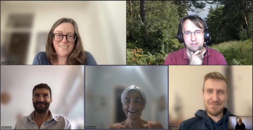 The Mapping Museums Team in a Microsoft Teams meeting. Clockwise from top left: Fiona Candlin, Val Katerinchuk, Jamie Larkin, Mark Liebenrood (inset), Alexandra Poulovassilis, Andrea Ballatore.