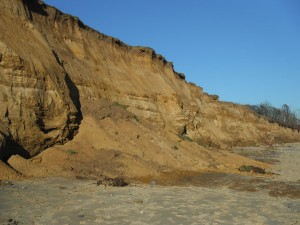 The collapsing cliffs at Covehithe, Suffolk (research will quantify the land loss in the 5-6 December, 2013 storm surge) (photo taken on 11th December, 2013 by SM Brooks)