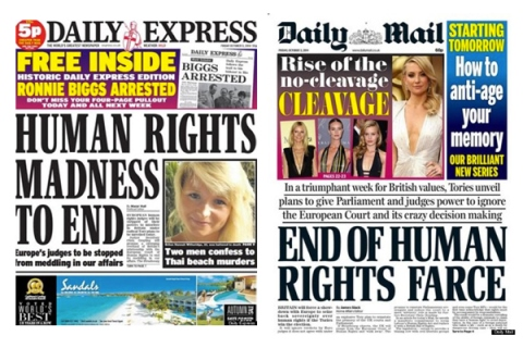 Human rights in the headlines (Images cc Huffington Post)