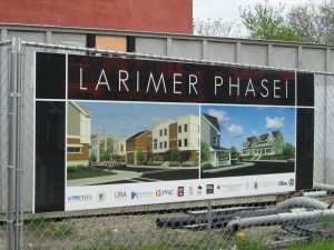 A sign about regeneration in Larimer district, Pittsburgh