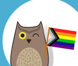 The animated owl holding the Pride flag