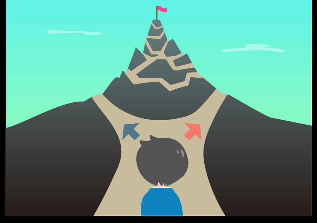 Cartoon of a figure at a crossroads