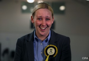SNP's Mhairi Black smiles after defeating Labour's Douglas Alexander for the Paisley and Renfrewshire South seat at the Lagoon Leisure centre, Paisley.
