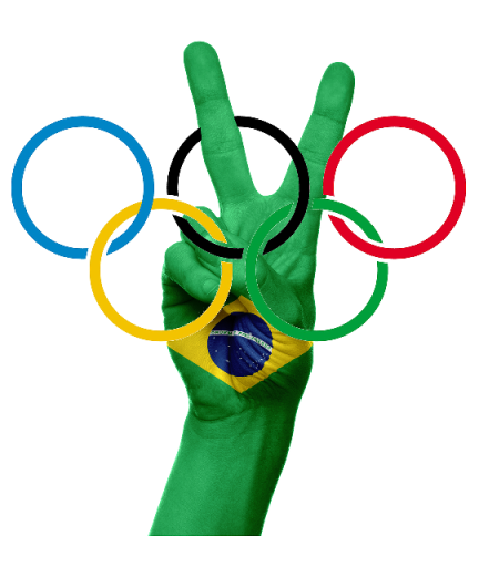 A hand with the Brazilian logo and the five Olympic rings