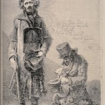 V0015891 Two blind beggars, one stands with a placard around his neck