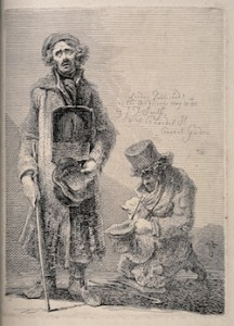 This black and white etched print depicts two beggars, both with hats in hands. They appear to be standing on a road in front of a paved street. The beggar on the right hand side is crouched low on his knees, turned towards the second man on the left hand side. His head burrows into his scarf, his eyes are closed, and a cane rests on the floor at his knees. He wears a top hat, the rim of which is frayed. He appears to wear a long cord around his neck. In his right hand he holds out another hat with the rim uppermost like a receptacle. The second man stands upright, clasping a hat in his right hand with the rim facing the viewer like a receptacle, a cane in his other hand. He faces forward. He wears a cap: his hair is curled, he has a moustache and his eyes are white. He is dressed in a long, frayed coat, which reaches to below his mid-calf, above the top of his boots. Around his neck is hung a placard that reaches from his chest to the base of his stomach, the top half of which contains a drawing of a male figure in an oval frame, the bottom half contains writing (not discernible). There is an inscription above the head of the kneeling man which reads 'London, Published as the Act directs by John Thomas Smith, December 1st 1815. No 4 Chandos Street Covent Garden' [description end].