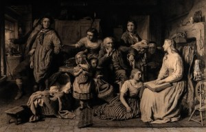 W. Ridgeway, after George Smith, A Blind Girl Reads the Bible by Touch to her Illiterate Family in the Dark, engraving (1871).