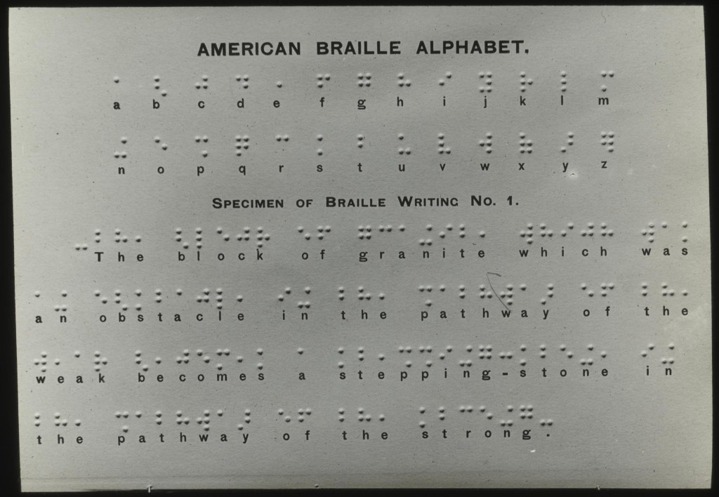 American braille alphabet card. Courtesy of Perkins School for the Blind