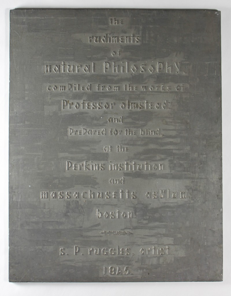 An embossing plate in Boston Line Type from 1846